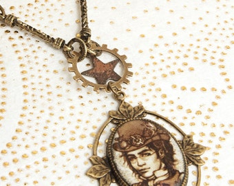 Lord Time - Old Cooper star . Steampunk Necklace