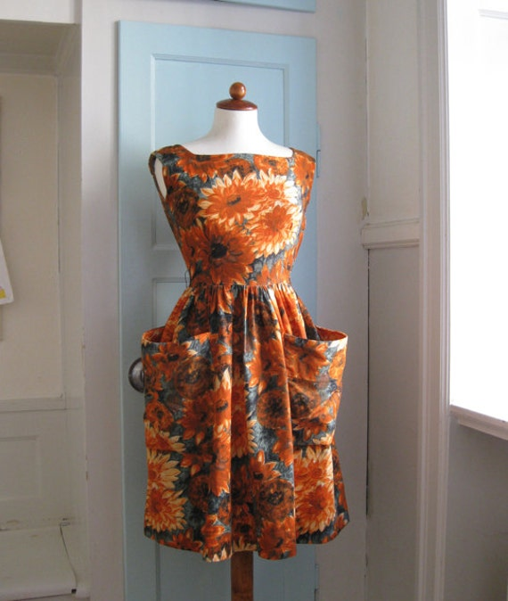 1950s sunflower summer dress - XS