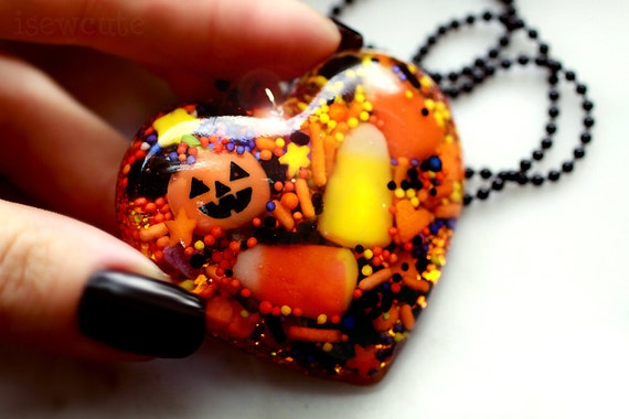 All the Treats Halloween Candy Pumpkin Fall Colored Glittery Resin Heart Pendant Necklace in Orange Black & Yellow by isewcute