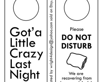 Black and White Wedding, Bachelor, Bachelorette, Guest Door Hanger - Custom Made to order. DO NOT DISTURB.
