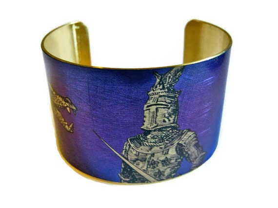 KNIGHT AND DRAGON cuff bracelet brass or aluminum Gifts for her