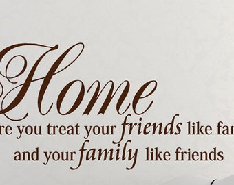Wall Quote Decal - Home is where you treat your friends like family - Wall Words - Home Decal - Family Decal - Wall Decal
