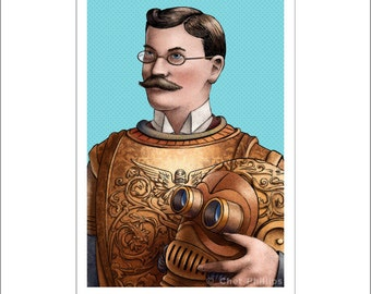 Flatiron Knight- Victorian Iron Man Art Print