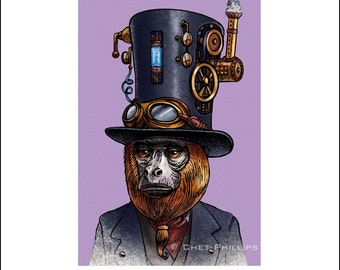 "Obediah Krinklenut 8"" x 10"" Steampunk Monkey Nation Whimsical Art Print- Monkey Wall Decor"