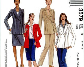McCalls 3579 Jacket Shirt Top Blouse Pants and Skirt Size 8 10 12 Uncut Sewing Pattern