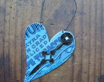 Vintage Reclaimed Blue Edgeworth Tobacco Heart Tin Ornament, Upcycled, Gifts under 15, gifts for her, Christmas ornament, ready to ship