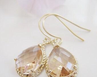 Pink Champagne Teardrop Earrings, Peach Faceted Glass, Blush Pink, Gold Bridal Earrings, Gardendiva