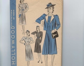 1940s Vintage Sewing Pattern Hollywood 1835 Misses Frock Dress Jacket Pleated Front Size 20 Bust 38 40s