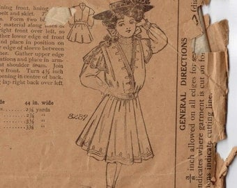 1900s Vintage Sewing Pattern American Pattern 8289 Girls Frock Size 8 Year Breast 26 Edwardian Victorian Antique INCOMPLETE