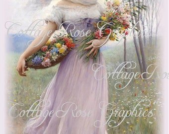 Lavender Lassie LARGE format digital download Victorian shabby cottage chic Buy 3 get one FREE