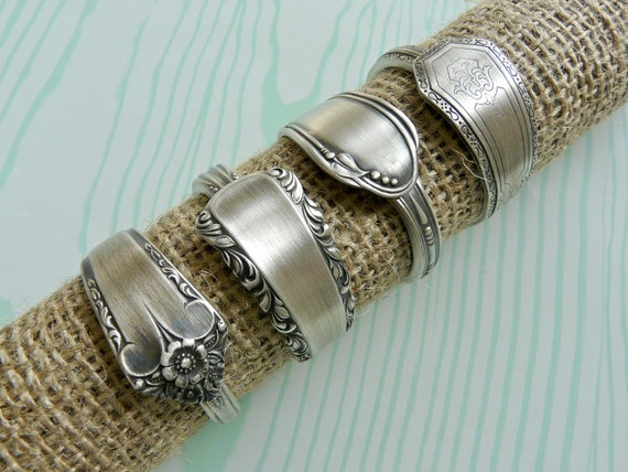 Napkin Rings, Antique Silver Spoon Patterns, Set of 4, Lot 2