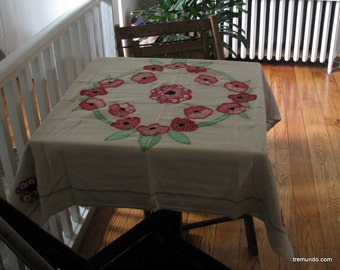 red poppy tablecloth vintage flour sack card table cover shabby chic cottage boho decor