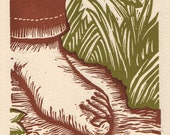 walk.   (brown version)   A linocut print  on Arches cream paper.
