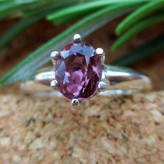 Pink-Purple Spinel Ring in Sterling Silver, Genuine Gemstone