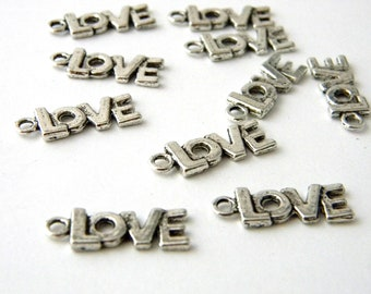 Love Charms Set of 10 Silver Color 22x8mm