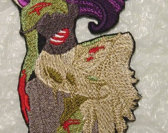 "ZOMBIE PIN-UP Girl Iron on Applique - Patch 6.25"" x 3"" - Free U.S. Shipping"