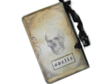 Halloween Spells Journal, Skull, Book of Spells, Charms, Incantations, Witch / Pagan Pocket Journal Tags