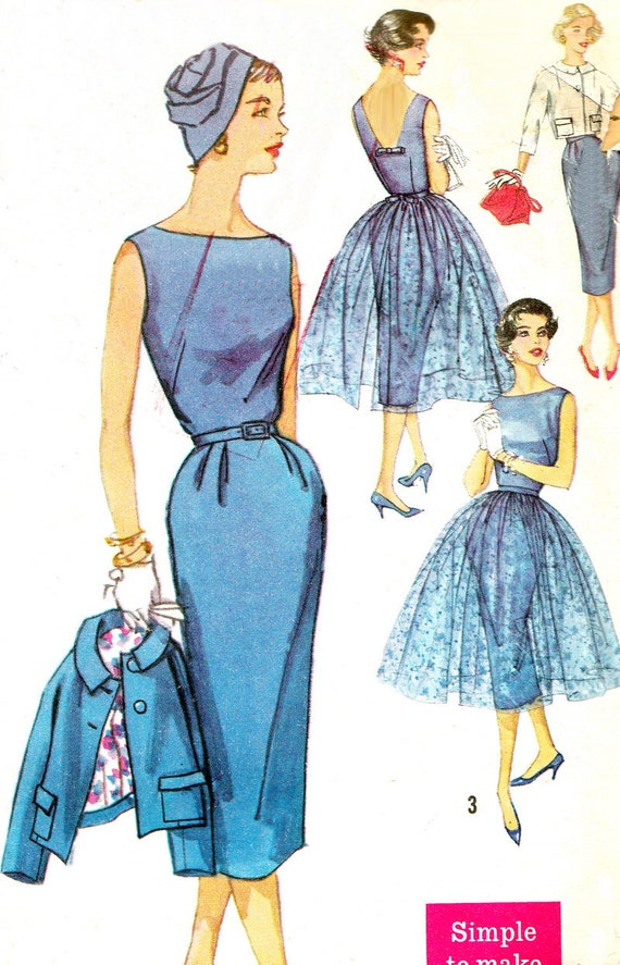 1950s Evening Dress Pattern Simplicity 2370 Sleeveless Low Back  Sheath Dress Sheer Overlay and Jacket Womens Vintage Sewing Pattern Bust 33