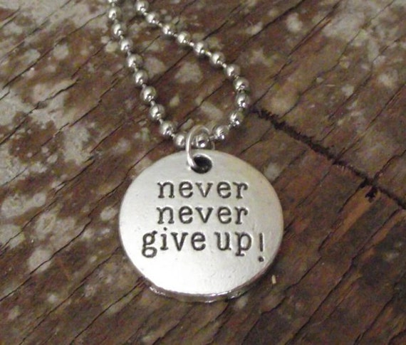 items similar to silver sted necklace never never give