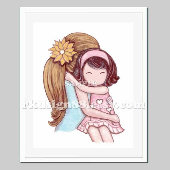 Mother daughter nursery art for kids room, girls room decor, mothers day, children art blonde brown My Sunshine 8x10
