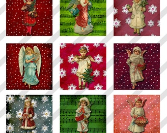 "Digital Collage Sheet Altered Art  Charm  Images Victorian Christmas 1"" X 1"" (Sheet no. FS182) Instant Download"