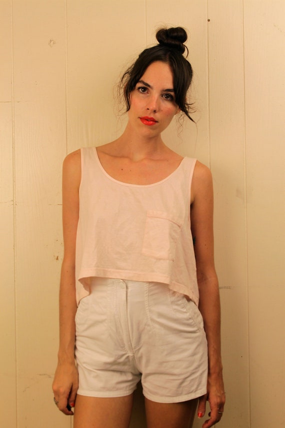 1980s White High Waisted Tap Shorts Size XS-S