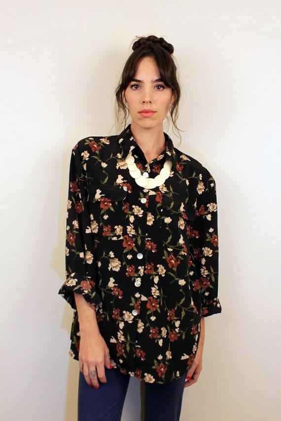1990s Black Floral Button Up Blouse Size S-M