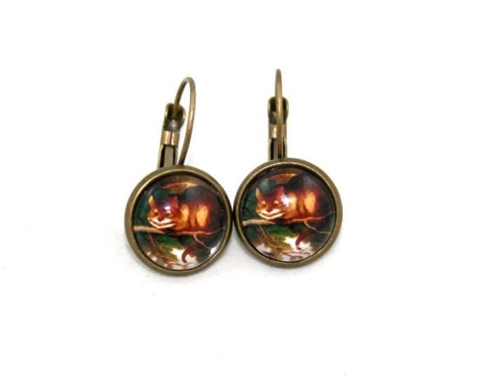 Cheshire Cat Earrings, Cat Illustration, Dangle Earrings, Alice In Wonderland