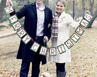 Merry Christmas Banner - Christmas Photo Prop and Home Decor
