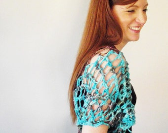 Cotton knit shrug - aqua maroon - summer shawl