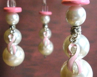 Ornaments for breast cancer awareness, Snow Women, set of 3