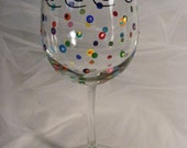 Bride  wine glass with polka dots - can be personalized