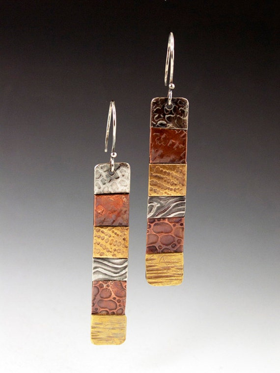 SALE Mixed Metal Earrings, patchwork, long dangle earrings, quilt earrings, mixed metal earrings, silver brass copper, textural earrings