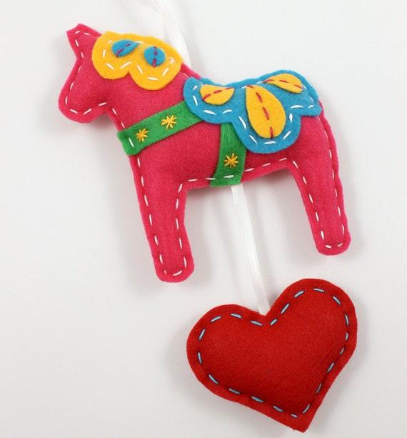 Felt Dala Horse Plush Wall Hanging Cute Pink Swedish Christmas MADE TO ORDER