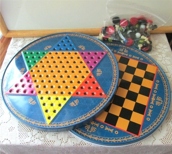 Chinese Checkers Metal 1980s Tin Game Boards Marbles and Chess Pieces