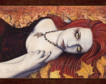 Autumn PRINT Gothic Fairy Fantasy Art Fall Leaves Fall Colors Corset -- Season Series -- 3 SIZES