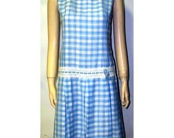 Sweetest little scooter dress blue plaid cotton small/ MED b36