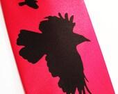 Mens necktie, Red tie Crow design, available in over 50 different necktie colors