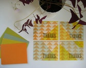 thanks flat note cards SET OF FOUR