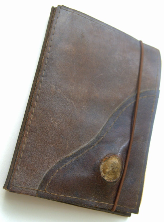 Vtg Handcrafted Steampunk/Rustic/Earthy Style Brown Leather Notepad Cover