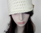 Flapper Hat Vintage Inspired Cloche with Glass Beading- Cream cotton and Gold beading - MADE TO ORDER