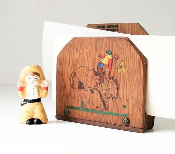 Vintage Wood Letter Holder - Napkin Holder - Bucking Bronco and Cowboy