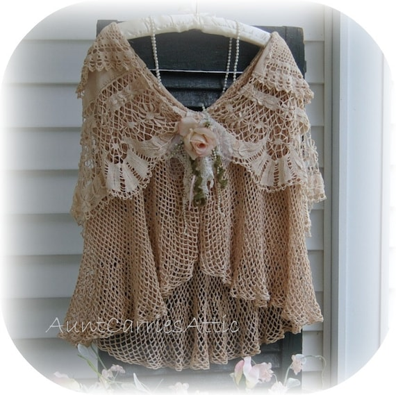 Mori Girl Woodland Rustic Cape Layers of Vintage Crochet