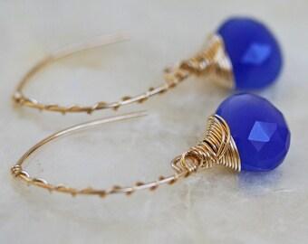 Chalcedony Earrings, Open Hoop Earrings, Cobalt Blue Earrings, Bright Blue Earrings, Blue Stone Earrings, Colorful Jewelry