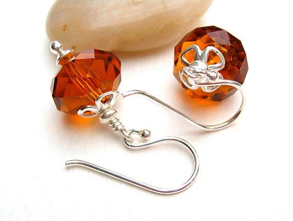 Amber Crystal Earrings, Faceted Beaded Earrings, Sterling Silver, Under 15 - ARMAGNAC