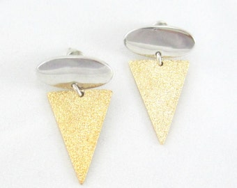 Triangle Earrings - Silver and Gold