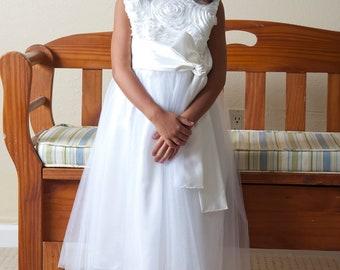 """White Flower Girl Dress, Tulle Flower Girl Dress, Holiday Dress, 2T - 16,  """"Alia"""" Dress"""