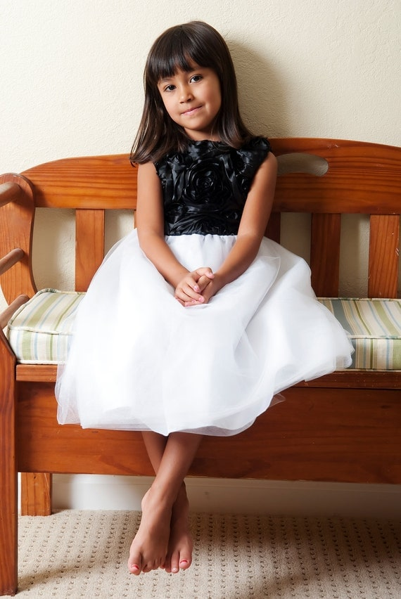 White Flower Girl Dress, Black and White Flower Girl Dress, Tulle Flower Girl Dress, Knee, Tea or Floor length, 2T - 16,  Amy Dress