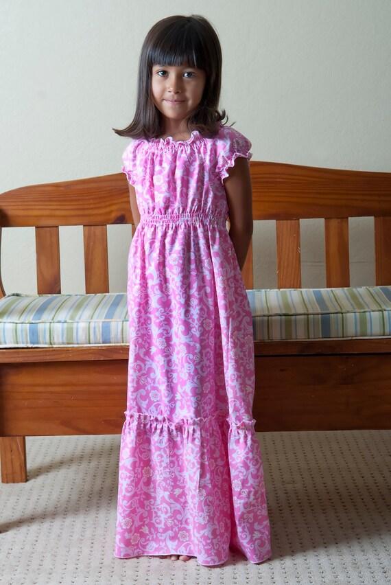 Peasant dress, Floor length dress, Maxi dress, sizes 2T thru 10