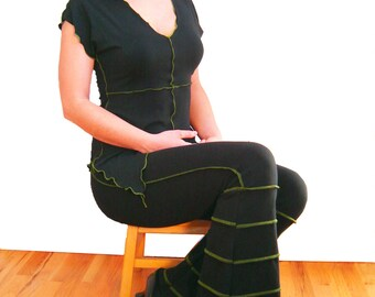 Flare Stripe Soy and Organic Cotton Pants in Black or Gray